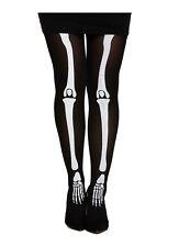 Ladies Skeleton Print Black Tights Fancy Dress Halloween Accessory (V37648)