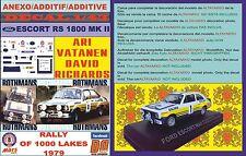 ANEXO DECAL 1/43 FORD ESCORT RS 1800 MK II ROTHMANS VATANEN 1000 LAKES 1979 (01)