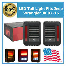 Fits 07-16 Jeep Wrangler JK LED Rear Tail Light Smoke Brake Turn Signal Reverse