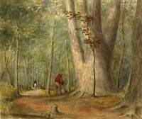 """perfect oil painting handpainted on canvas """"Woodcutter in the forest"""" NO8278"""