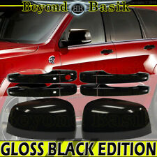 Door Handle COVERS WS+Mirrors for 2011-2020 GRAND CHEROKEE DURANGO GLOSS BLACK