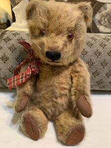 SWEET, BUT SAD LOOKING?  - LOVED, ANTIQUE?  VINTAGE?   JOINTED BEAR