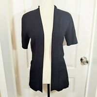 Chico's Women's Solid Black Short Sleeve Open Front Cardigan Size 0 / Small