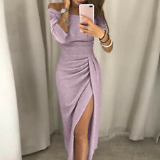 Womens Boho Off Shoulder High Slit Solid Bodycon Dress Long Sleeve Party Dresses