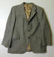 Harris Tweed Mens 46R Herringbone Blazer Jacket 3-Button Gray Scottish Wool USA
