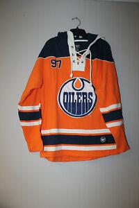 New NHL Edmonton Oilers #97 McDavid old time jersey style cotton hoodie men XXL