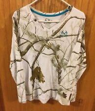 Real Tree XL (16-18) Girl White Camo Long Sleeve T Shirt