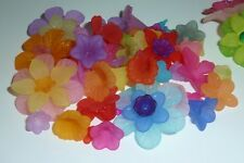 60 pce Colour Mix Frosted Acrylic Flower Beads 10mm to 33mm Jewellery Craft