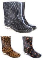 WOMENS LADIES WATERPROOF WELLIES SHORT ANKLE WELLINGTON RAIN SNOW BOOTS FESTIVAL