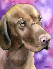 Hungarian Vizsla Art Print Signed by Watercolor Artist Dj Rogers