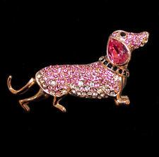 Entzückende Brosche Dackel Hund, rosafarbene Kristalle, goldfarben
