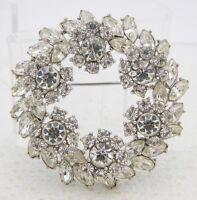 VTG 1961 TRIFARI Silver Tone Clear Rhinestone Large Flower Wreath Pin Brooch