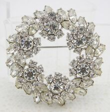VTG 1961 TRIFARI Silver Tone Clear Rhinestone Large Flower Wreath Pin Brooch