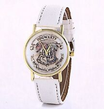 Free Gift Bag Faux Leather White Strap Ladies Men's Harry Potter Hogwarts Watch