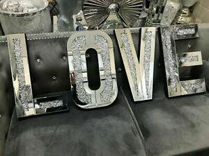 Love Sign Silver Crushed Crystal Diamond Mirrored Letters Wall Hung Bling Gift