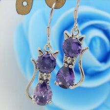 Women's Jewelry 925 Silver Filled Cubic Zirconia Purple Cat Dangle Earrings