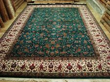 Green Rectangle Hand Knotted Fine Carpet (10 x 14)'