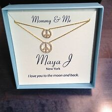 "Mother-Daughter 18k Gold over Sterling Silver ""PEACE SIGNS"" 2 Necklaces MJ-3A"