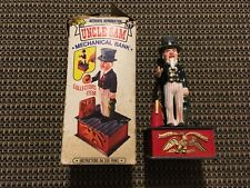 "VINTAGE Old Time UNCLE SAM Mechanical COIN BANK 1974 Plastic HONG KONG 9.5"" Tall"