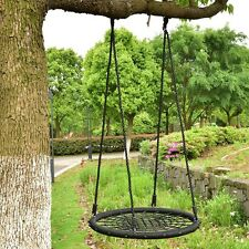 "Outdoor 31.5"" Kids Tree Swing Round Net Hanging Rope Spider Web Play Toy Black"