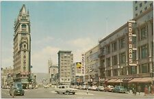 Looking North on Broadway and Telegraph in Oakland CA Postcard