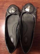 Dr. Scholl's Gray Silver Scholar Flats Buckle Shoes Sz10 EUC