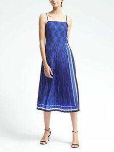 Banana Republic Xs 2 4 Blue Pleated maxi dress pailey Sleeveless Colorblock Wow