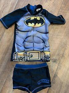 Boys Swim /Sun Suit Batman Theme. Age 7-8 Years. Shorts & Top. Zip Opening