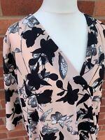 Roman Originals Ladies 3/4 Sleeve Blouse Size 18 Beige Black Floral Wrap Ladies