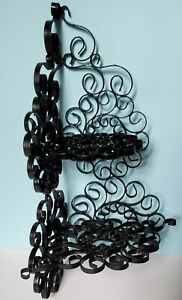 """VINTAGE 14.5"""" TALL ORNATE SCROLLWORK METAL COLLECTIBLE CORNER SHELF, SHABBY CHIC"""