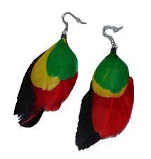 """Women's Green Yellow Red Black Rasta Feather Hoop Earrings w/ Silvertone 3"""" Long"""
