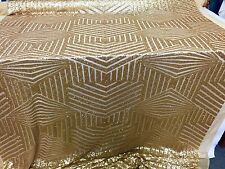 Gold Geometric Sequins Embroider On A Mesh Lace.Nightgown/Bridal/Prom/Wedding.