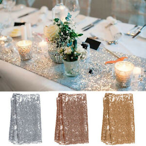 3 Colors Sparkly Sequin Table Runner Square Party Wedding Shiny Tablecloth Decor