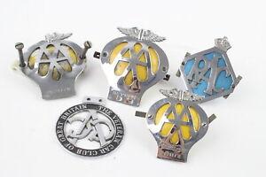 5 x Assorted Vintage Automobilia Car Grille Badges Inc Veteran Car Club, AA, RAC
