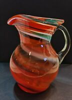 Vintage Hand Blown Art Glass Pitcher Carafe w Handle Orange Green White Swirl 7""