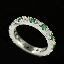 Fashion Woman Round Cut Emerald & White Sapphire 925 Silver Ring Size 10