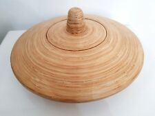 """Large Unusual UFO Shape Bowl With Lid Coiled Bamboo 15.5"""" Rare Wooden Art Decor"""