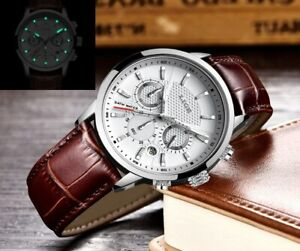 Casual Quartz Watch Men's Sport Waterproof Leather Watch Relogio Masculino+Box