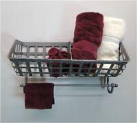 Wall Mounted Iron Basket For Towels Soap Wine Bottles Bathroom Shelf
