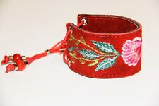Red Embroidered Suede Cuff with Pink Flower 1178R