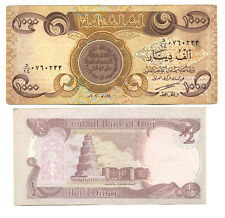 Iraq 1000 Dinar & Half Dinar Currency Two Notes Paper Money Set - AS117