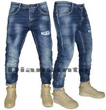Jeans uomo Denim strappati pantaloni foderati slim fit elasticizzati 1390