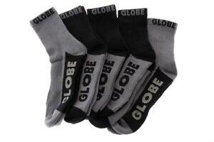 Globe Socks 5 Pack Black Grey Crew Black Grey Size 7-11 Skateboard Sox