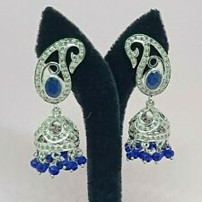 925 Sterling Silver Natural Sapphire and Diamond Jhumka Earrings Silver Jewelry
