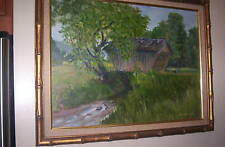 STOVALL COVERED BRIDGE PAINTING, LISTED AMERICAN ARTIST LOGAN, 1983 / VERY NICE