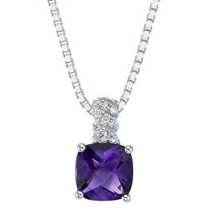 14K White Gold Amethyst and Lab Grown Diamond Solitaire Pendant, 1.56 Carats