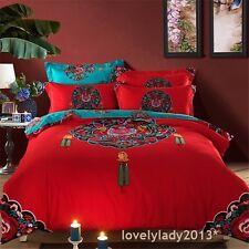 The Tang Dynasty Queen Size Bed Quilt/Doona/Duvet Cover Set 100% Cotton Linen