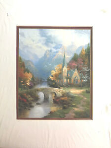 Thomas Kinkade The Mountain Chapel Matted Print 11x14 With Cert. of Authenticity