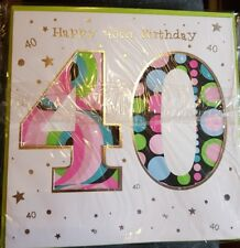 40th Birthday Card - Happy Birthday 40th Multicoloured_Brand New With Envelope
