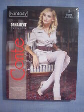 Conte Fantasy Ornament Fancy Pattern Pantyhose Size 3 in Gray